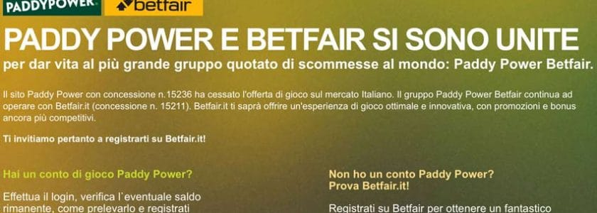 fusione betfair paddy power