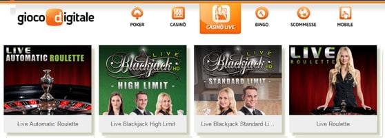 gioco digitale live casino